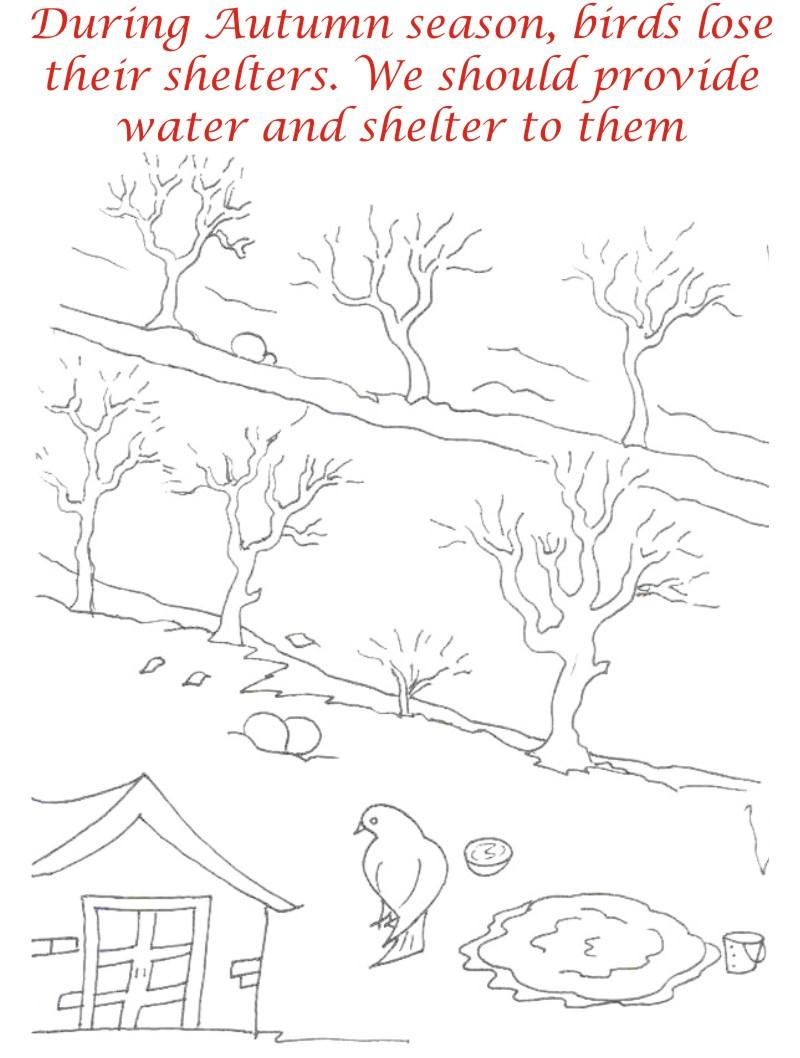 Autumn Season coloring printable page2 for kids