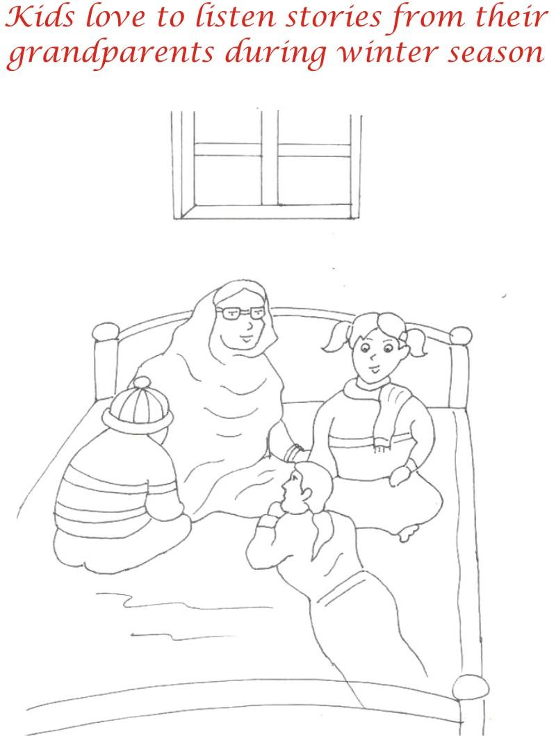 Winter season coloring printable page1 for kids