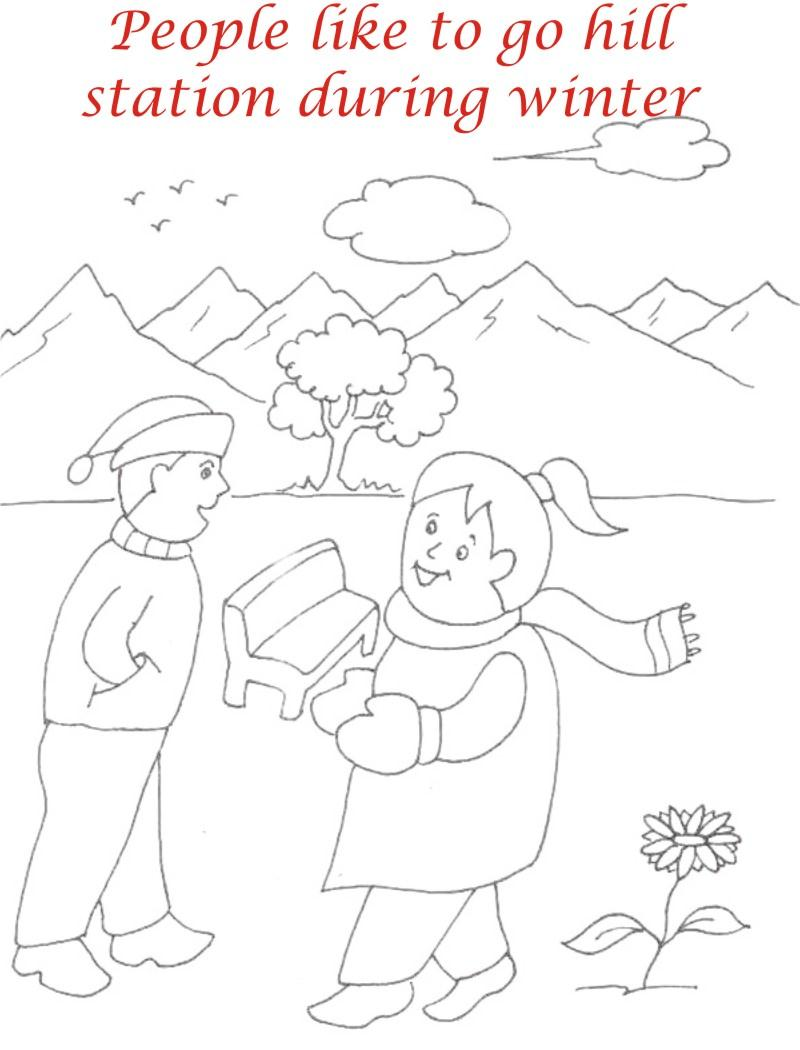 Winter season coloring printable page3 for kids