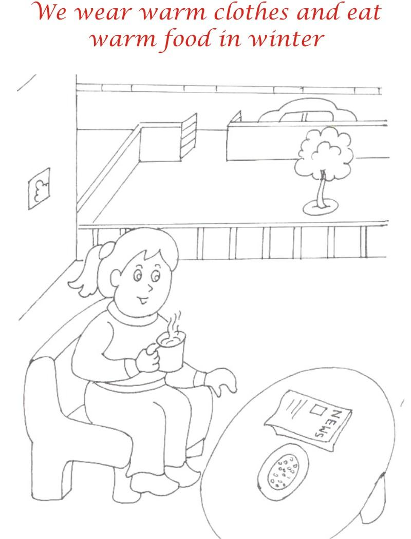 Winter season coloring printable page4 for kids
