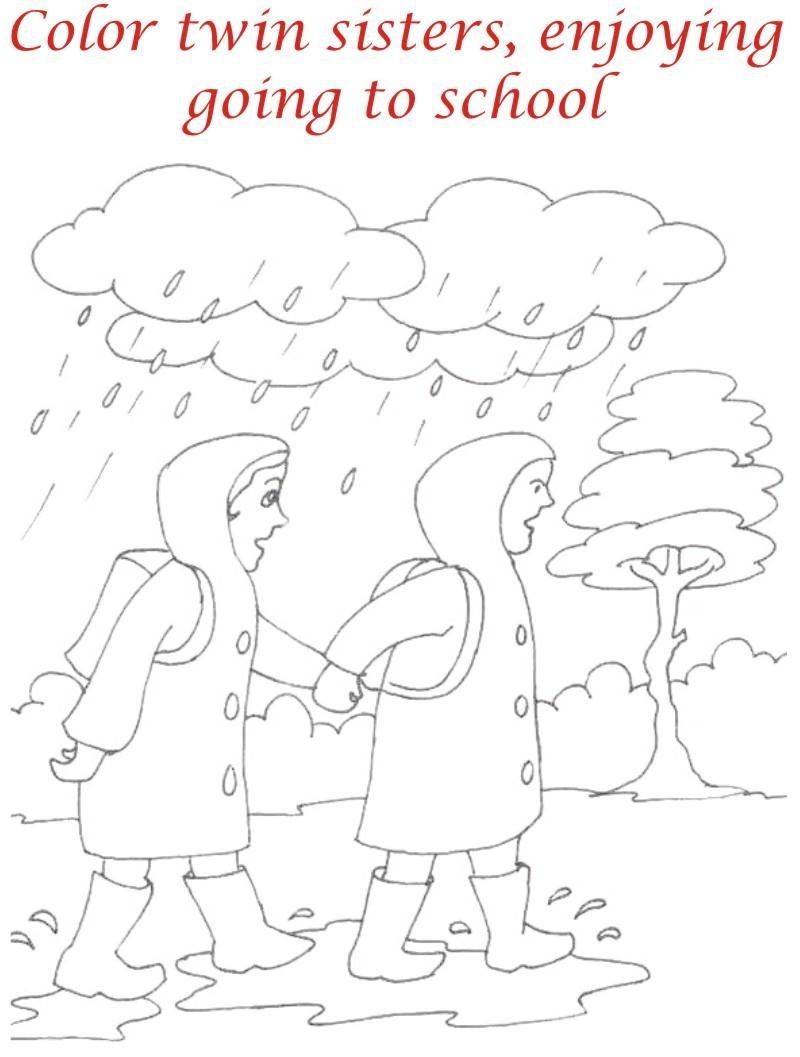 Rainy Season coloring printable page2 for kids