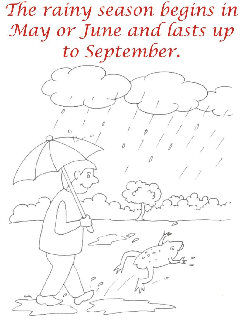 Rainy Season coloring printable page3 for kids