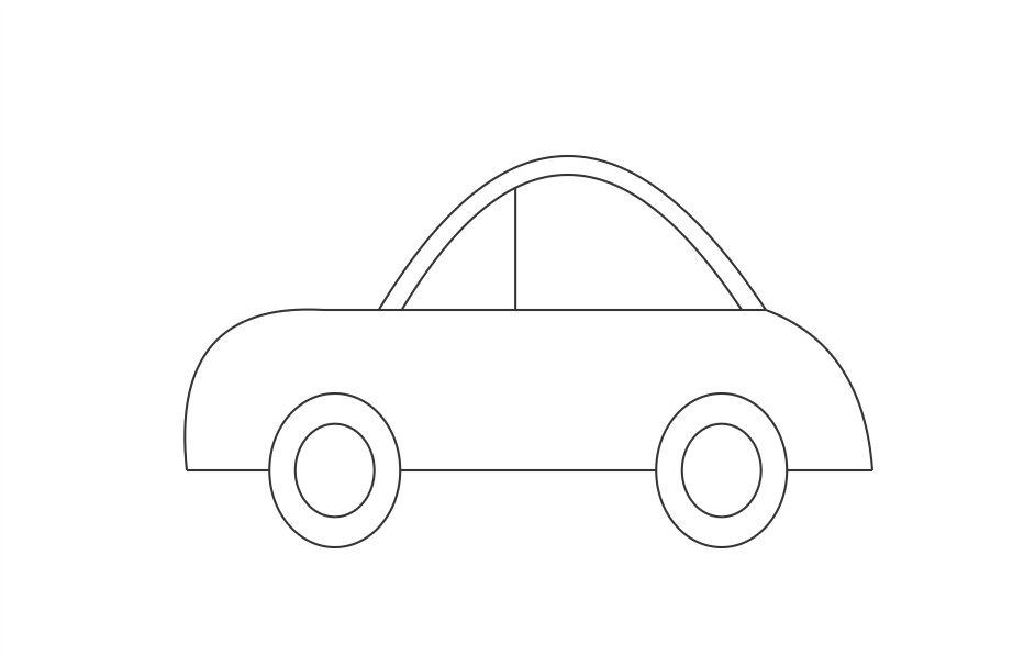 Make the windows of the car by drawing a line inside the curves as shown in figure