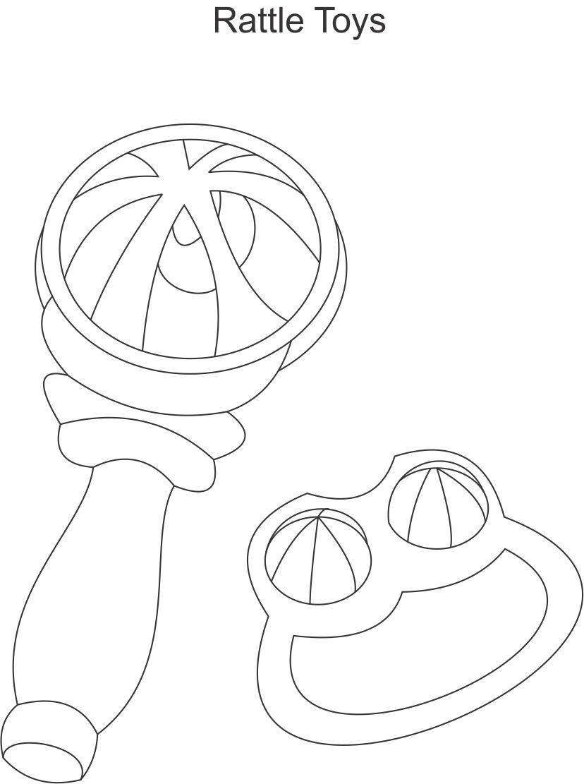 printable baby rattle coloring pages | Baby Rattle Clip Art Black And White Sketch Coloring Page