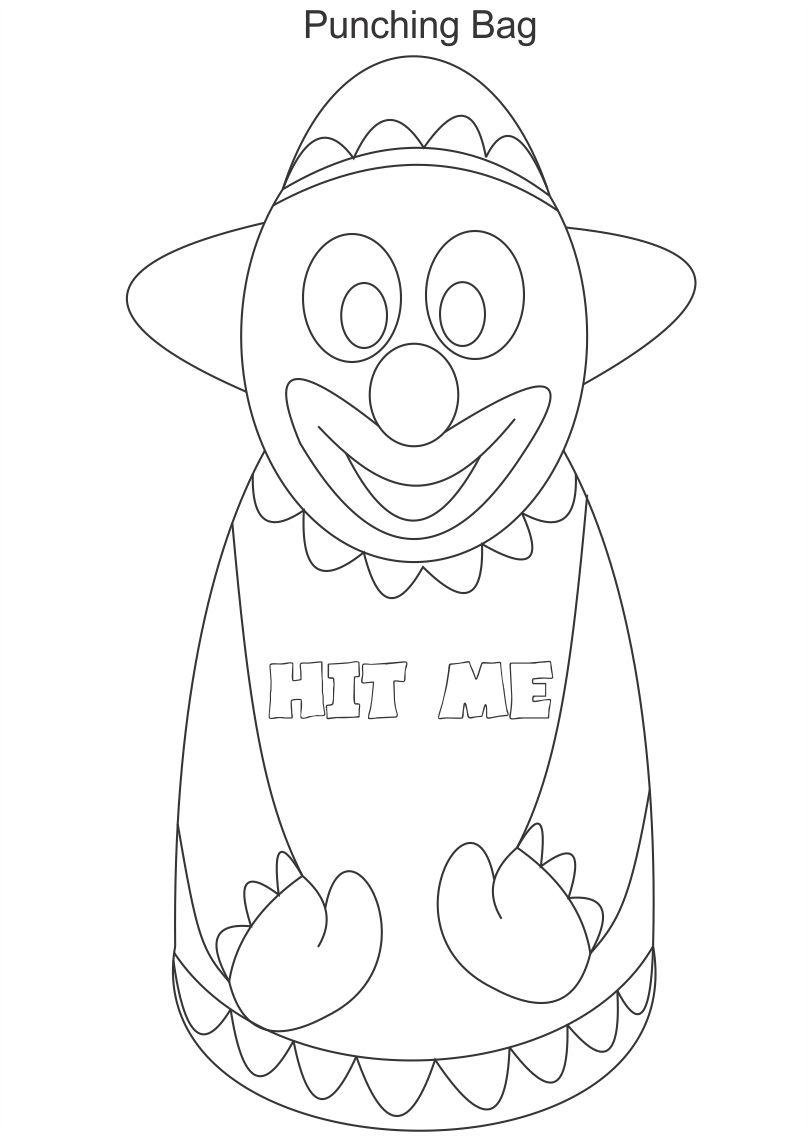 Punching bag coloring printable page for kids