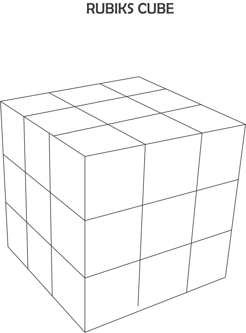 Cube Coloring Pages Rubicks Cube Coloring