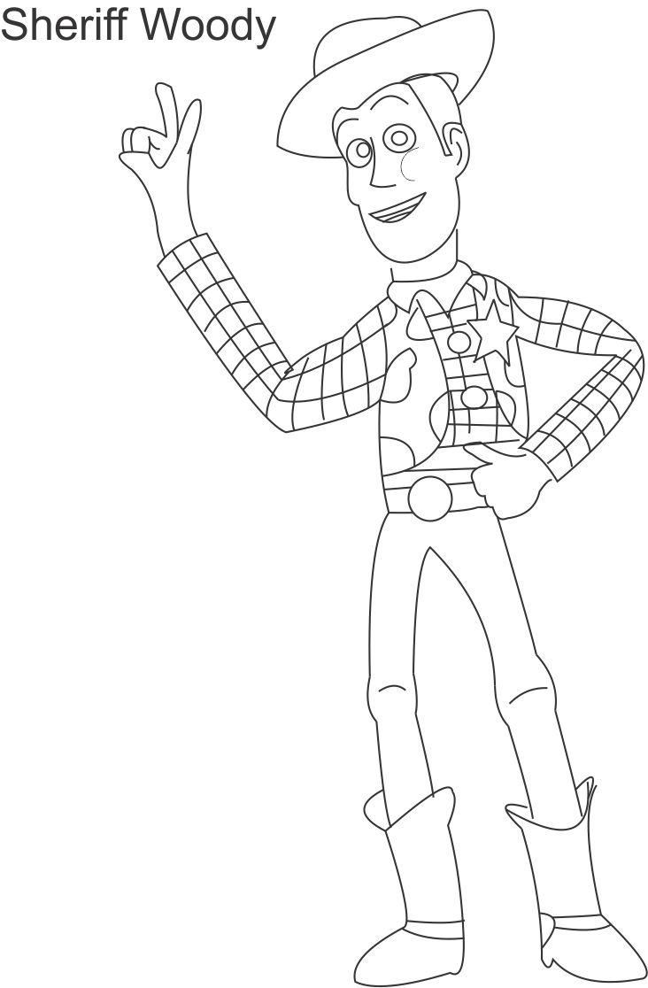 Toy woody sheriff coloring page for kids