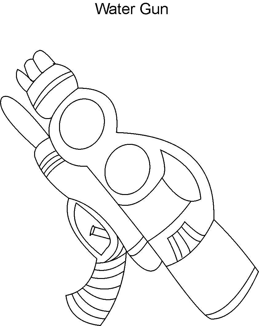 water gun coloring printable page for kids