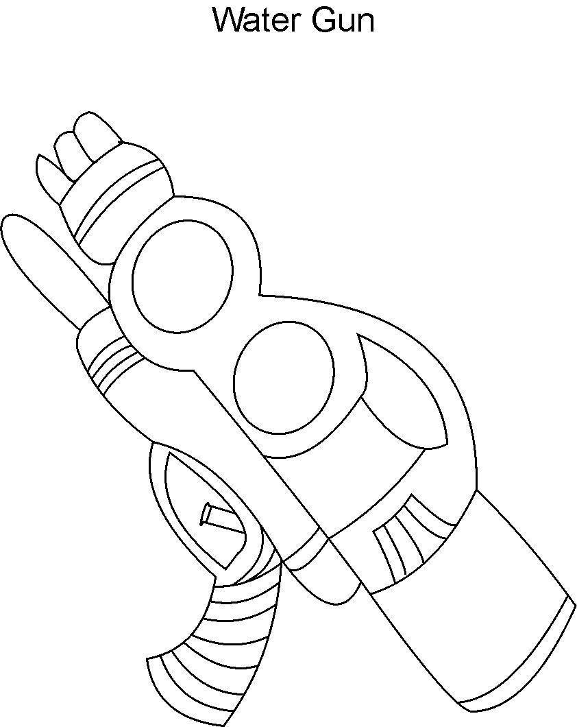 Water gun coloring printable page for kids