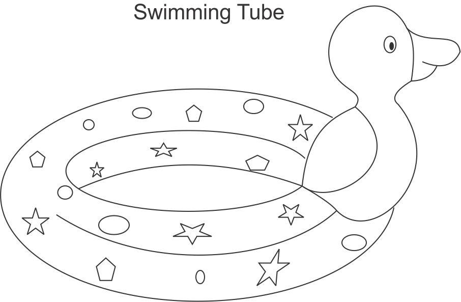 Swimming Tube Coloring Printable Page For Kids