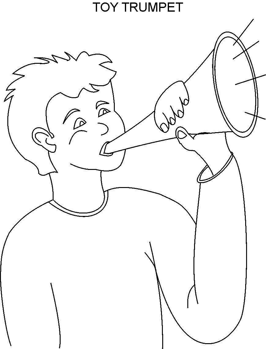 trumpet coloring printable page for kids