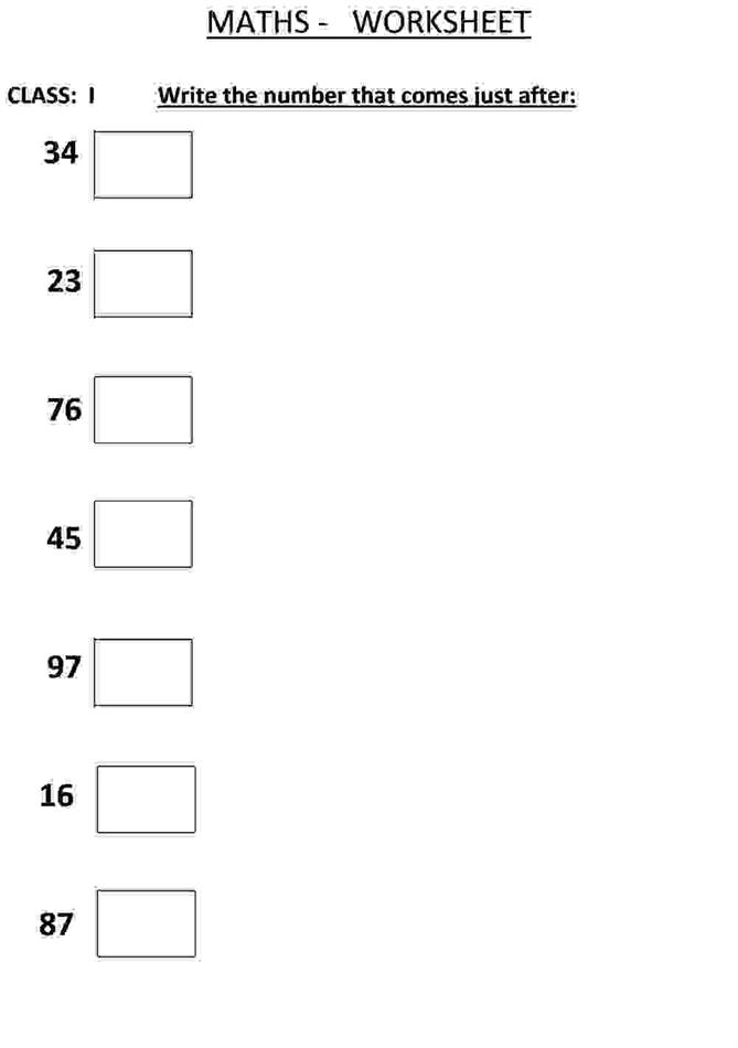 Write the Number that comes after a - Class 1