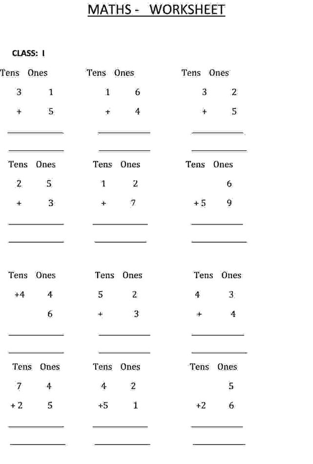 Addition calculation Class 1 Maths Worksheet – Class 1 Maths Worksheets