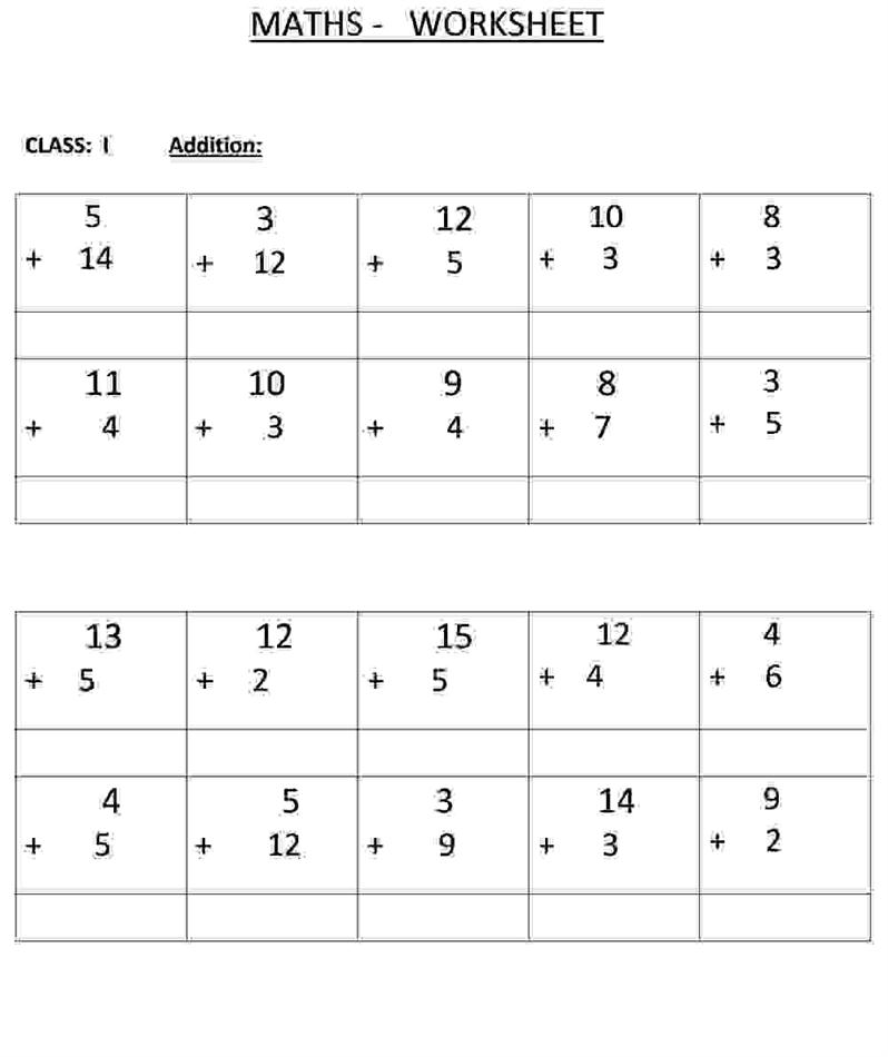 Addition Class 1 Maths Worksheet – Class 1 Maths Worksheets
