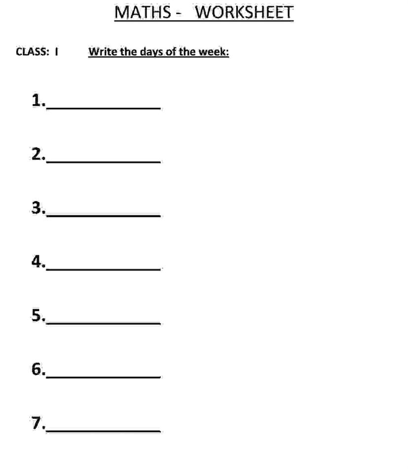 Write the Days of the Week - Class 1 Maths Worksheet