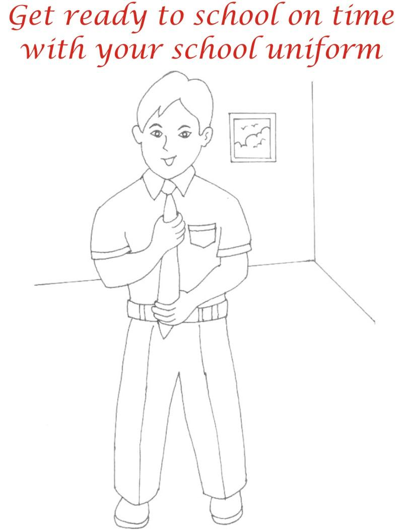 School uniform coloring printable page for kids
