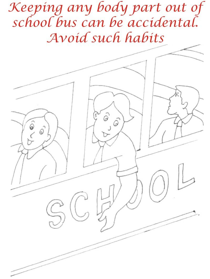 Manners in School bus coloring page for kids