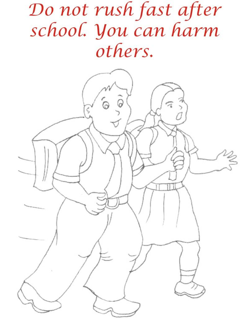 Etiquette and manners coloring page for kids