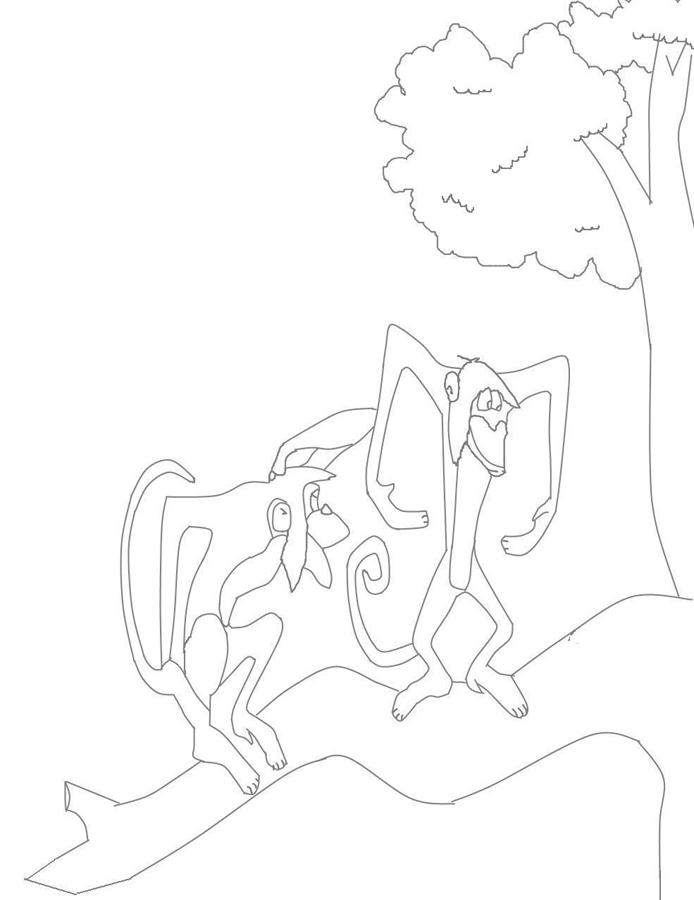 Monkeys Coloring Printable Page For Kids