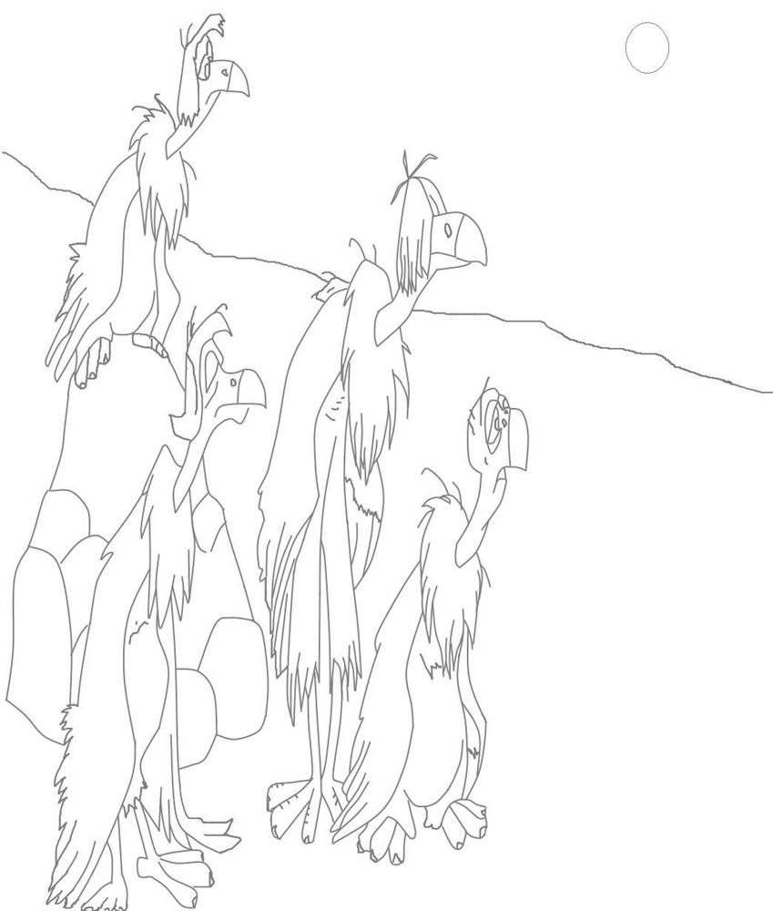 vultures coloring printable page for kids