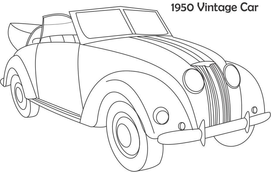 Vintage car coloring printable page for kids
