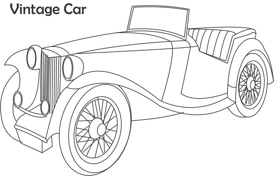 Vintage Car Coloring Printable Page For Kids 2