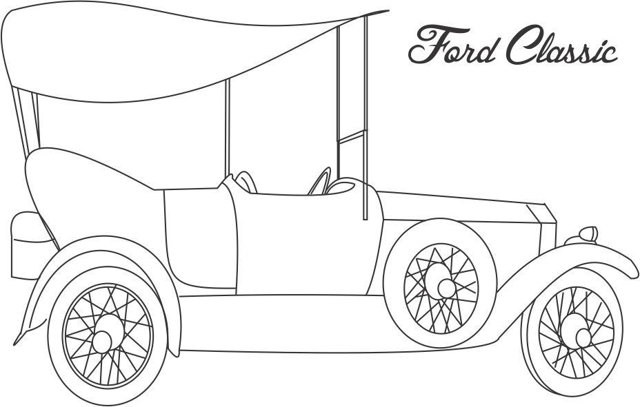 Ford Classic car coloring printable page for kids
