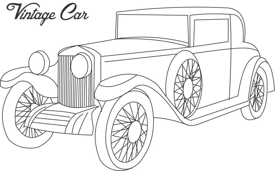 Antique Car Coloring Pages : Vintage car coloring printable page for kids