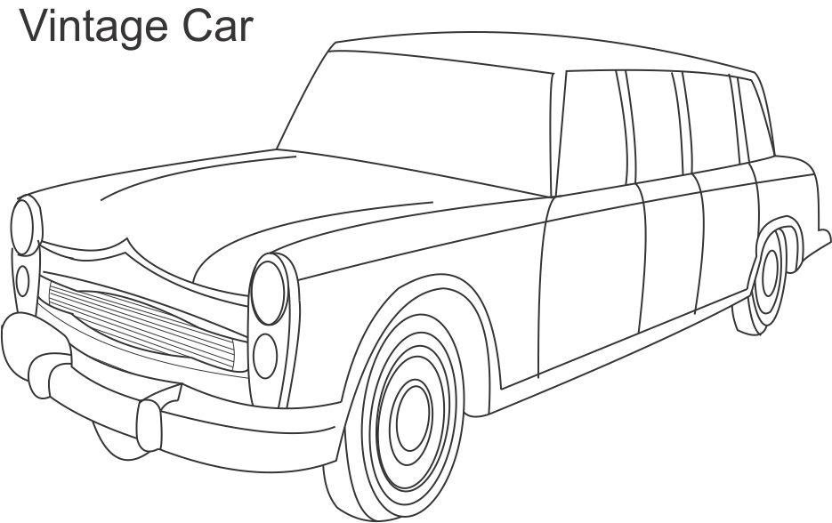 Vintage Car Coloring Printable Page For Kids 4