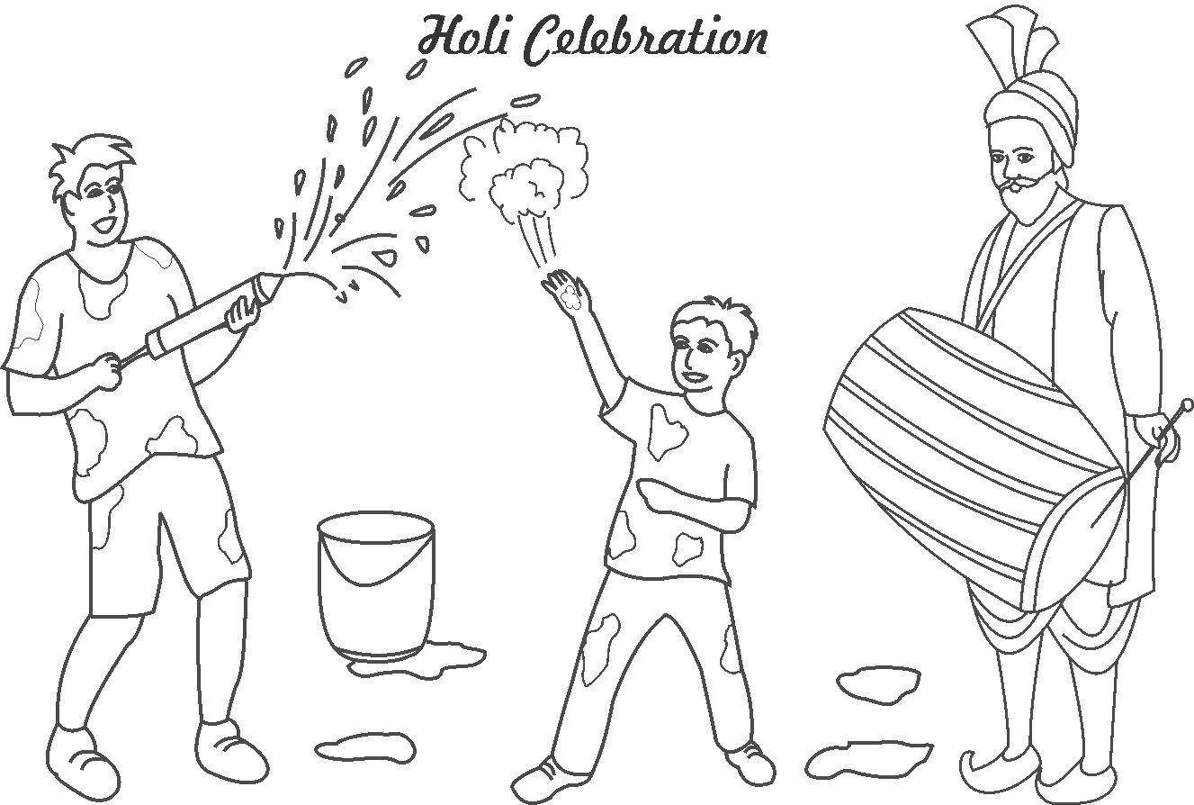 Holi Celebrations Coloring Printable Page For Kids Holi Colouring Pages