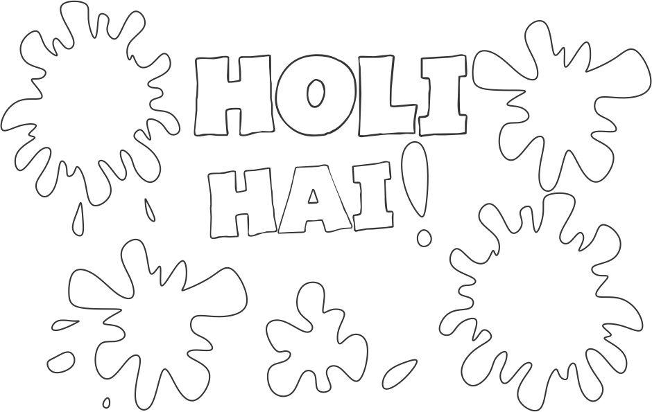 Happy Holi Coloring printable page for kids