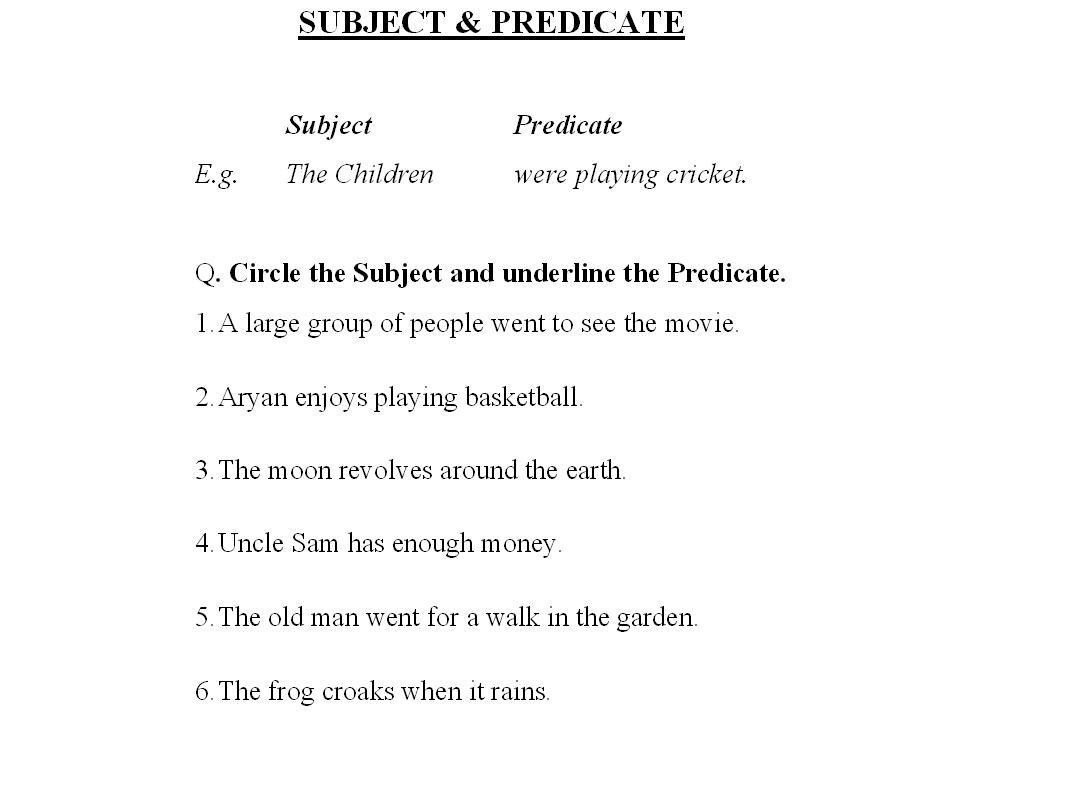 Simple Subject And Simple Predicate Worksheets – Predicate Worksheets