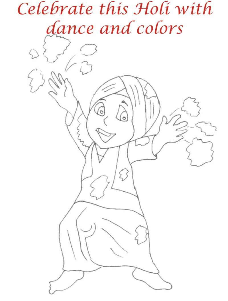 holi coloring printable pages for kids 2
