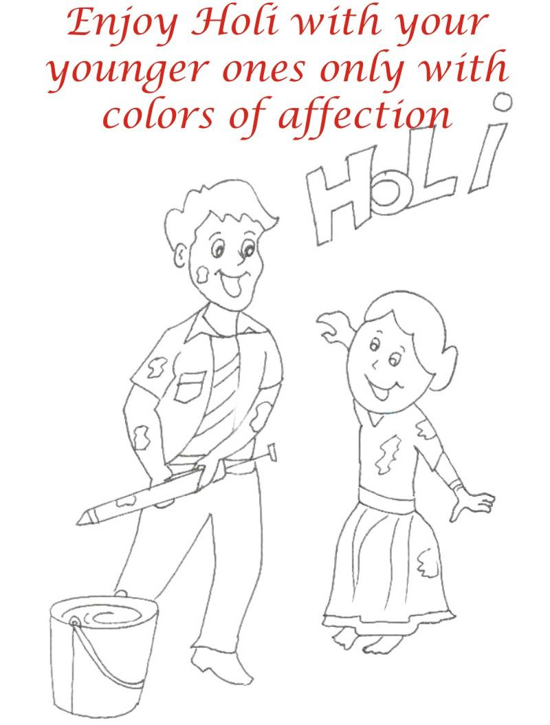 Holi coloring printable pages for kids 4