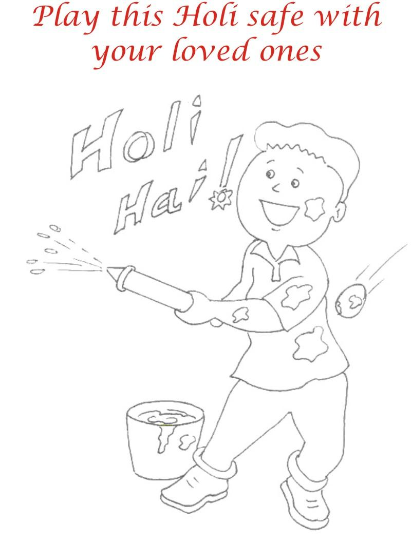 Holi coloring printable pages for kids 6