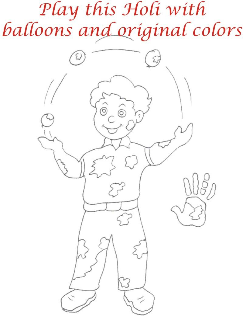 Holi coloring printable pages for kids 8