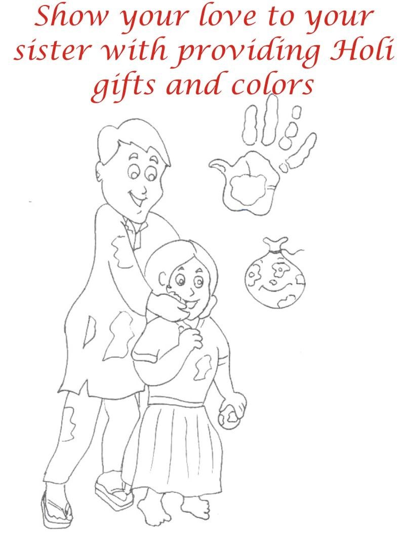 Holi coloring printable pages for kids 9