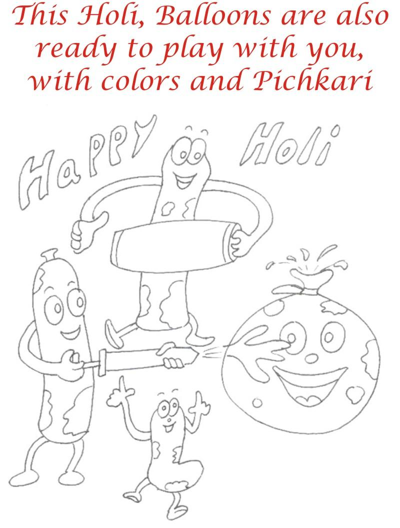 Holi coloring printable pages for kids 11