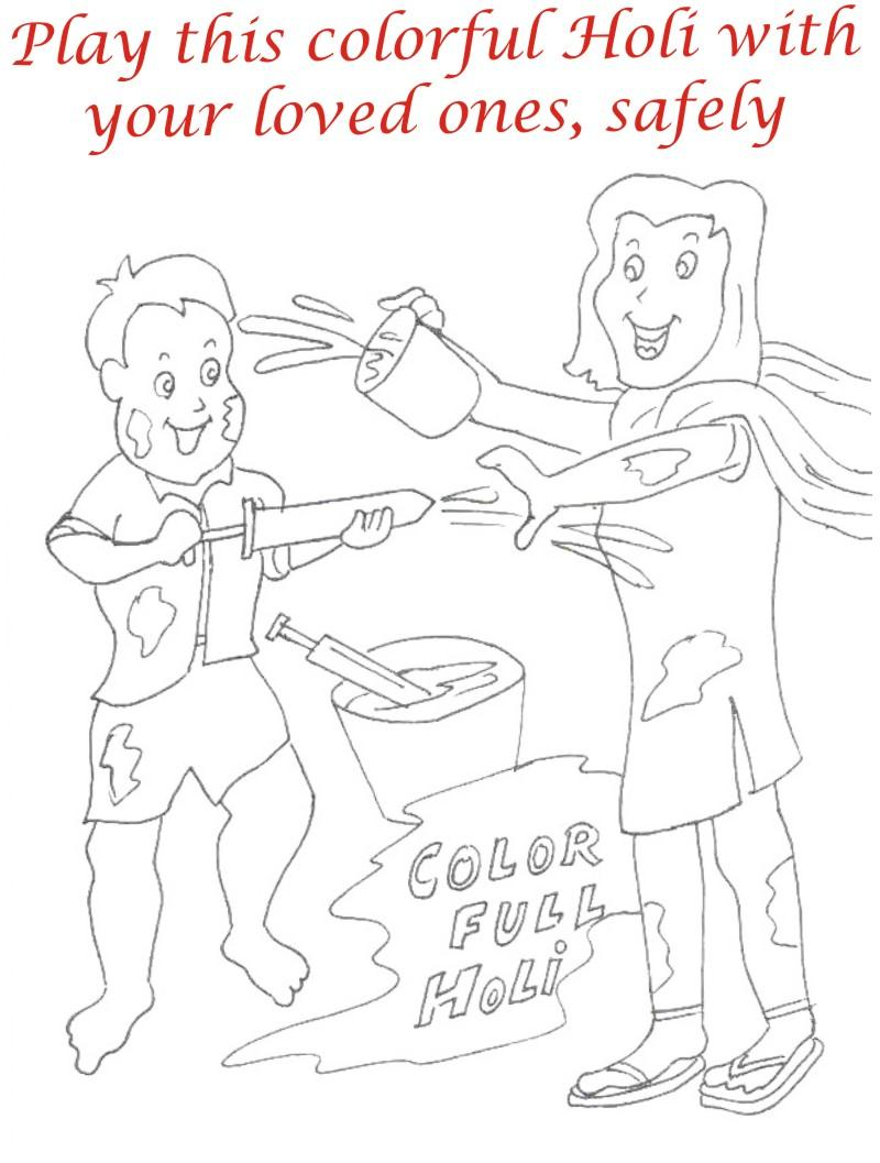 Holi coloring printable pages for kids 12 Holi Pictures For Colouring