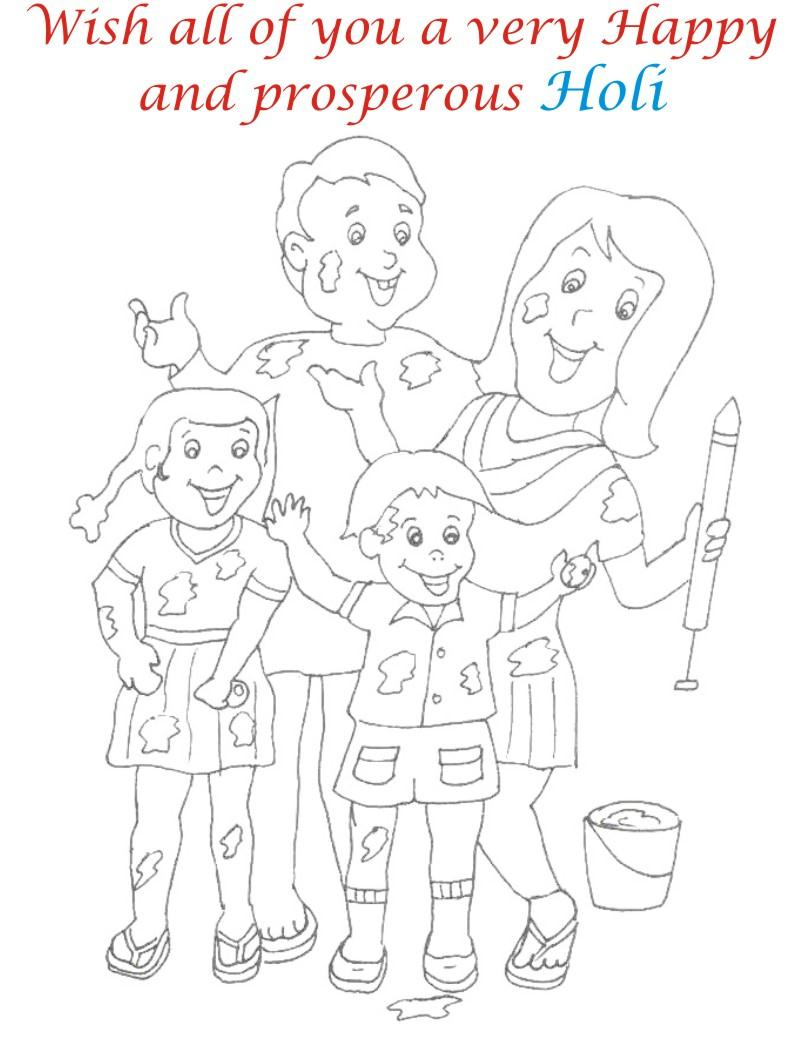 Holi coloring printable pages for kids 13