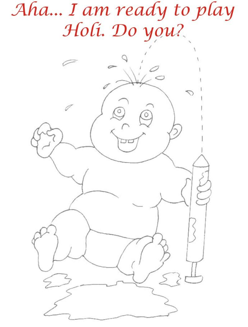 holi coloring pages - holi coloring printable page for kids 20