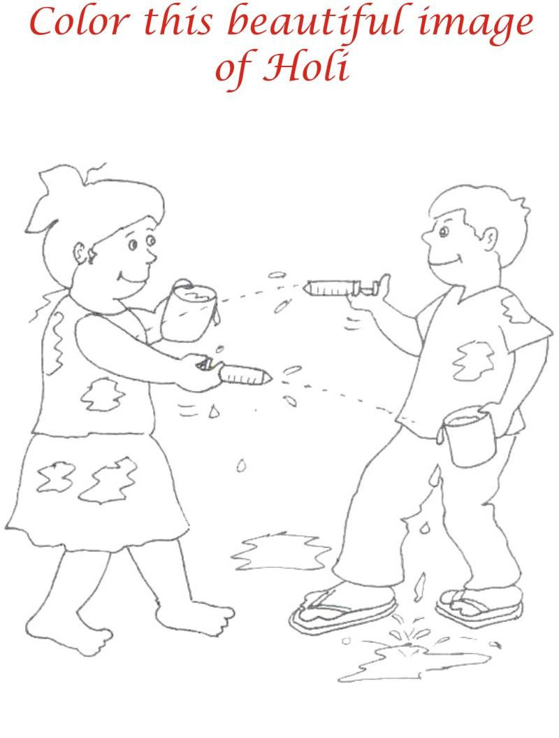 Holi coloring printable page for kids 22 Holi Pictures For Colouring