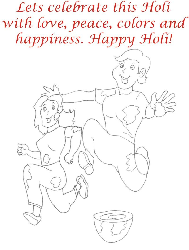 Holi coloring printable page for kids 28