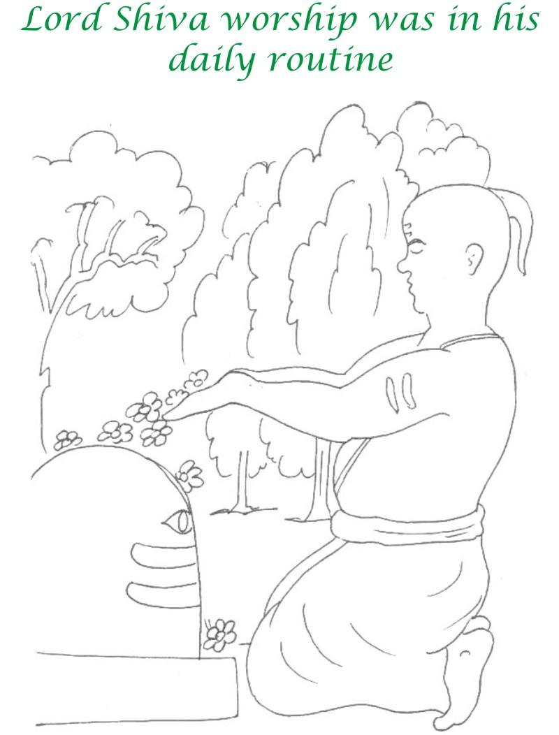 True devotee Story coloring page for kids 4