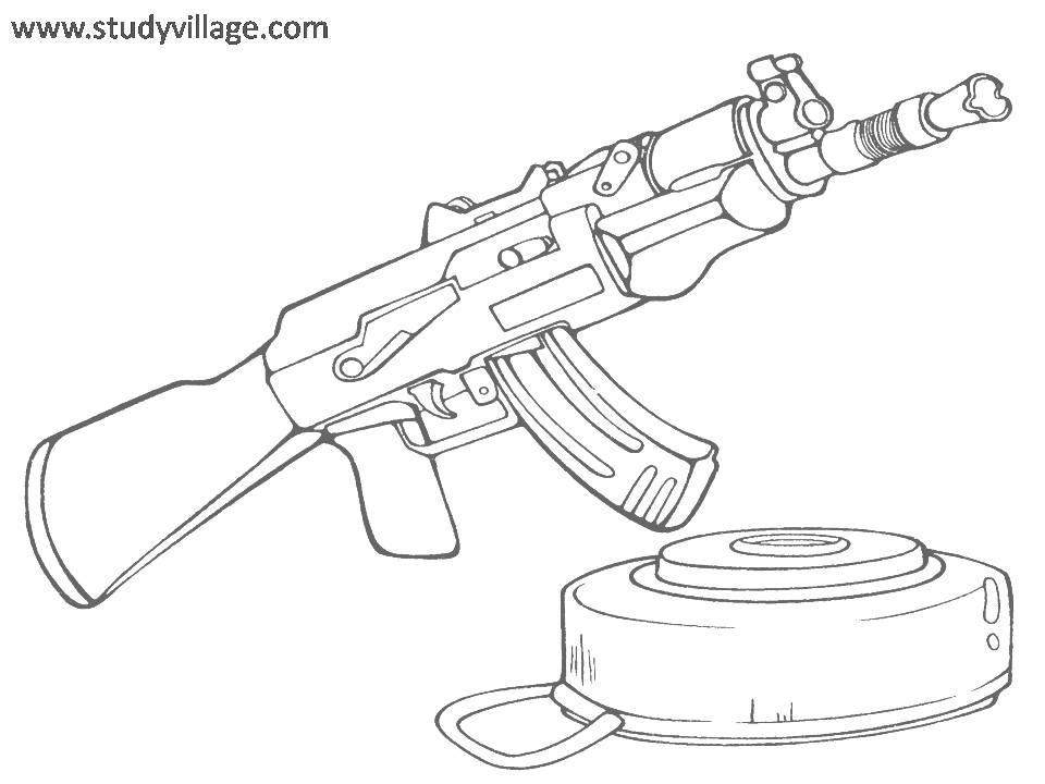 Gun Coloring Pages Pdf : Military weapon coloring page for kids