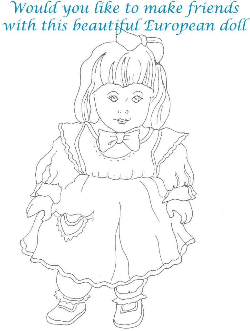Dolls coloring printable page for kids 1
