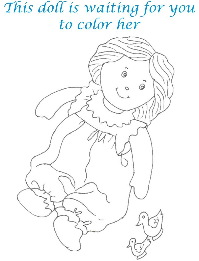 Dolls coloring printable page for kids 2