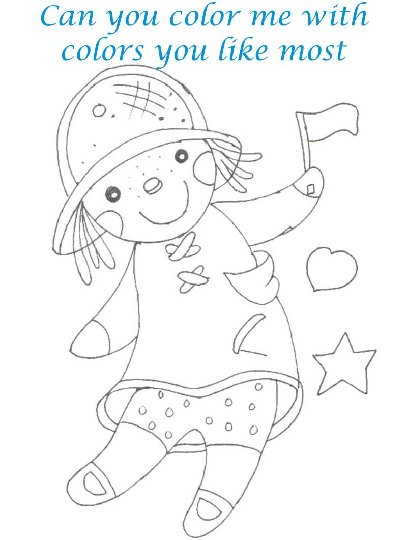 Dolls coloring printable page for kids 13