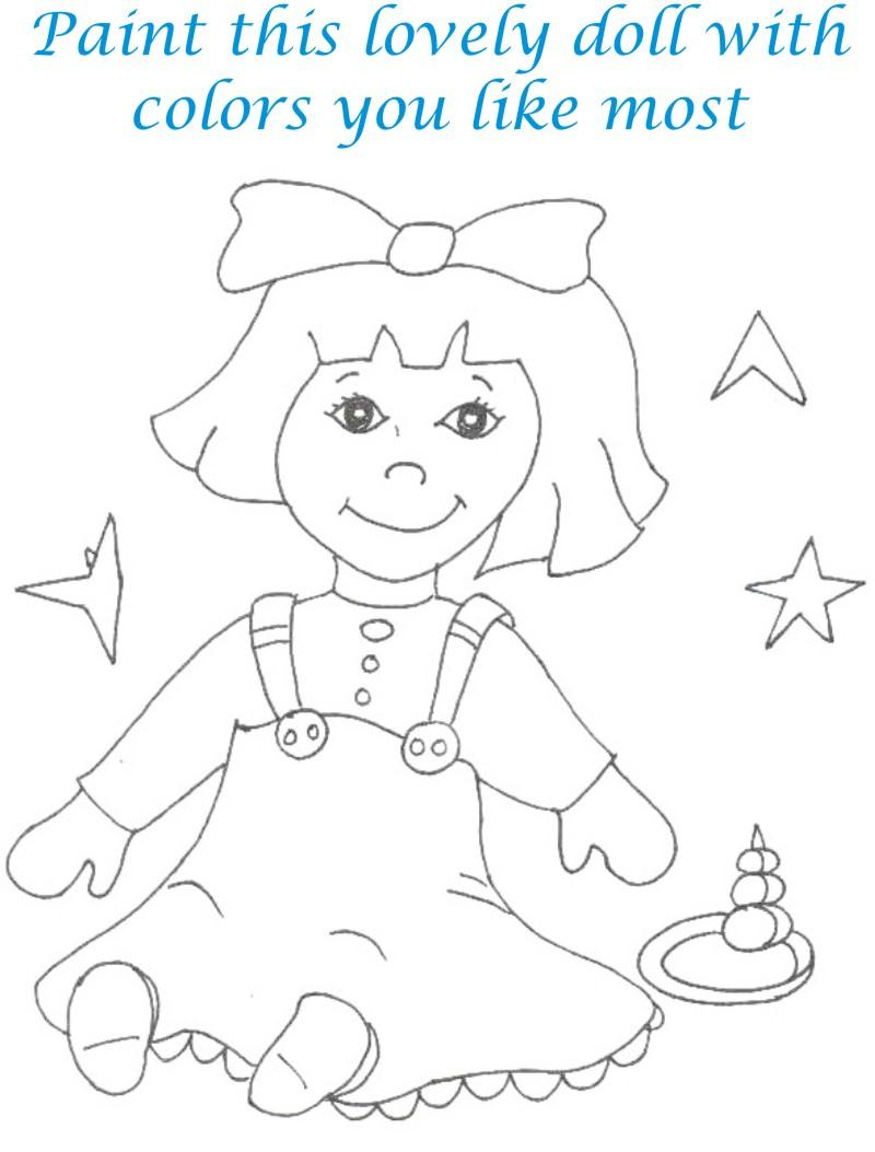 Dolls coloring printable page for kids 21