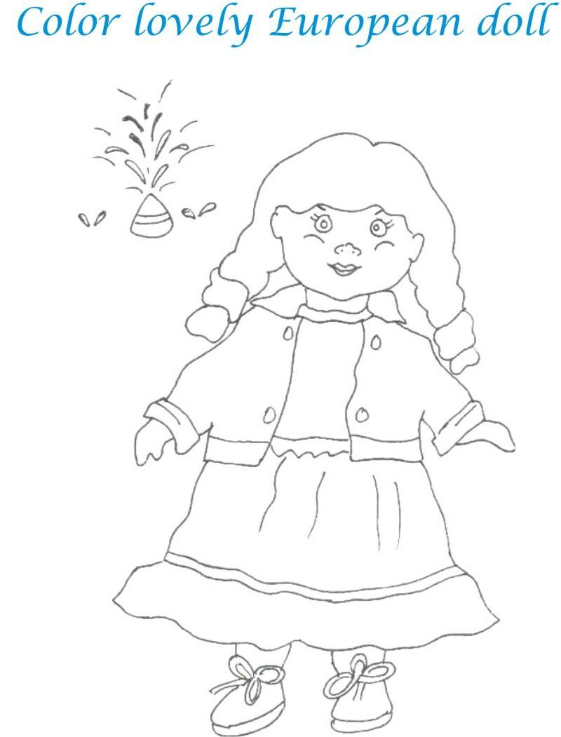 Dolls coloring printable page for kids 26
